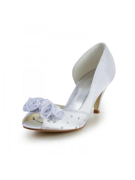 Donna Raso tacco a cono Peep Toe bianca Scarpe da sposa Con Flower Strass