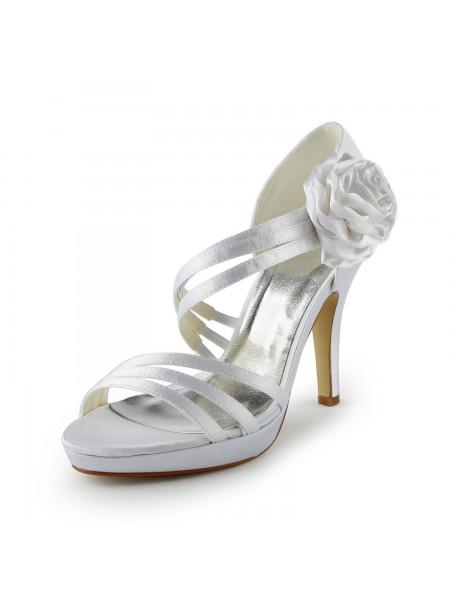 Donna Raso tacco a spillo Piattaforme Sandals White Scarpe da sposa Con Flower