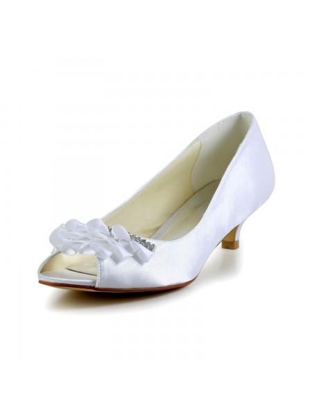 Donna Raso Kitten Heel Peep Toe Sandals Scarpe da sposa Strass