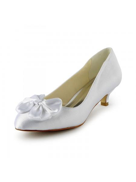 Donna Raso Kitten Heel Pumps Con Fiocco White Scarpe da sposa