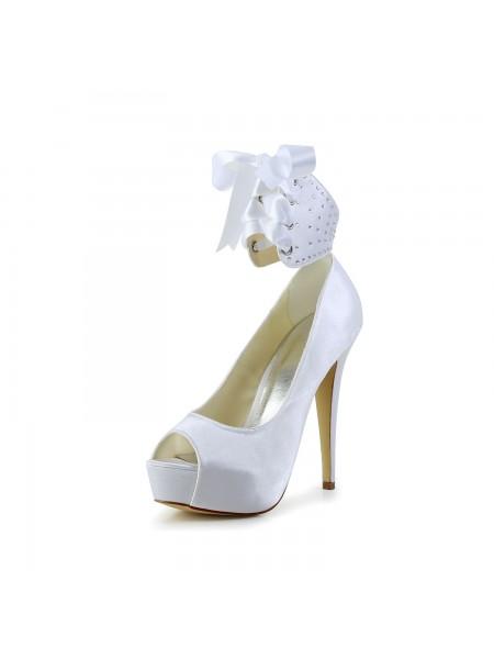 Donna Raso Peep Toe tacco a spillo Con Fiocco bianca Scarpe da sposa