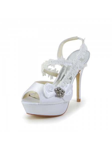 Donna Raso Peep Toe tacco a spillo bianca Shoes Con Wedding Fiocco