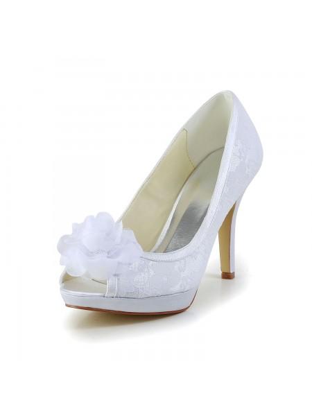 Donna Raso Peep Toe tacco a spillo bianca Scarpe da sposa Con Flower