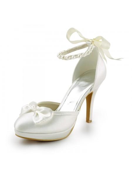 Donna Raso tacco a spillo punta chiusa Piattaforme Pumps White Scarpe da sposa Con Fiocco