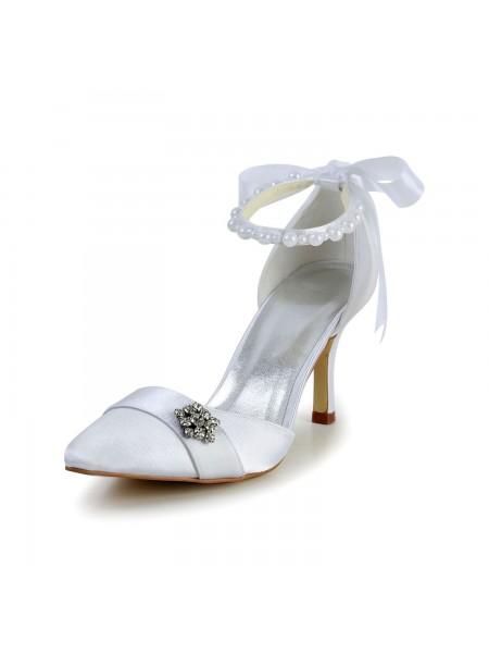 Donna Raso tacco a spillo punta chiusa Scarpe da ballo Pearl