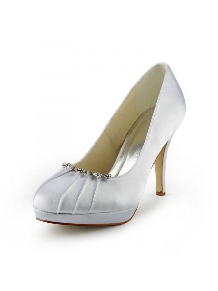 Donna Raso tacco a spillo punta chiusa Piattaforme White Scarpe da sposa Con Strass