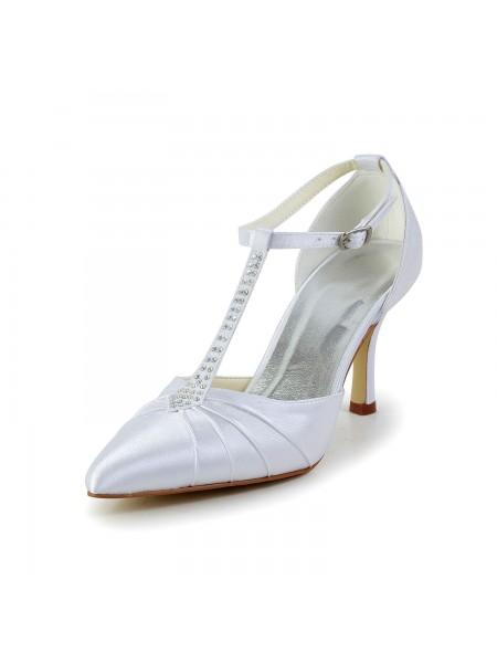 Donna Raso tacco a spillo punta chiusa Piattaforme bianca Scarpe da sposa Con Strass