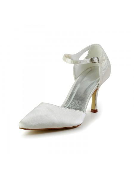Donna Raso tacco a spillo punta chiusa Pumps bianca Scarpe da sposa