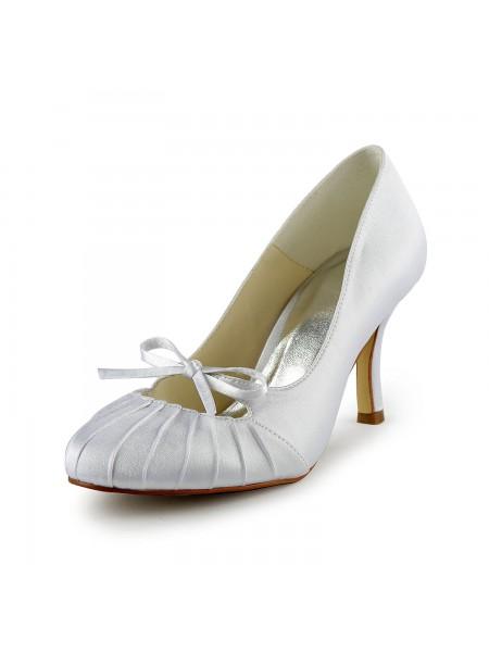 Donna Raso tacco a spillo punta chiusa Pumps White Scarpe da sposa Con Fiocco Increspato