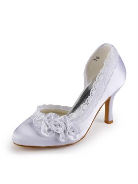 Donna Raso tacco a spillo punta chiusa White Scarpe da sposa Con Strass