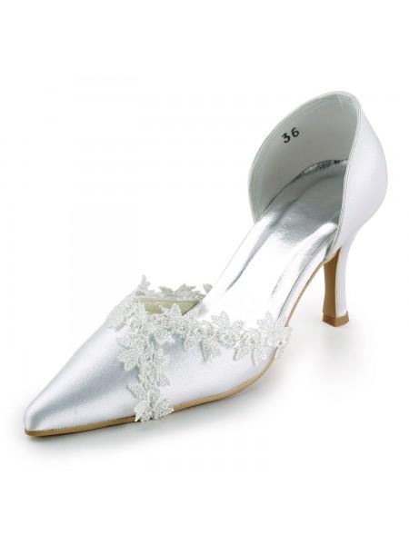 Donna Raso tacco a spillo punta chiusa Pumps White Scarpe da sposa Con Pizzo