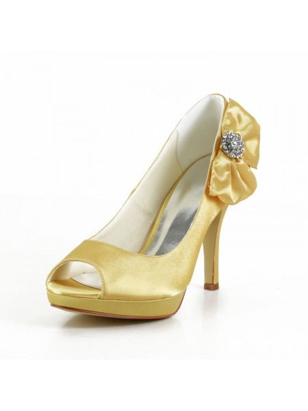 Donna Raso tacco a spillo Peep Toe Piattaforme Gold Scarpe da sposa Con Fiocco