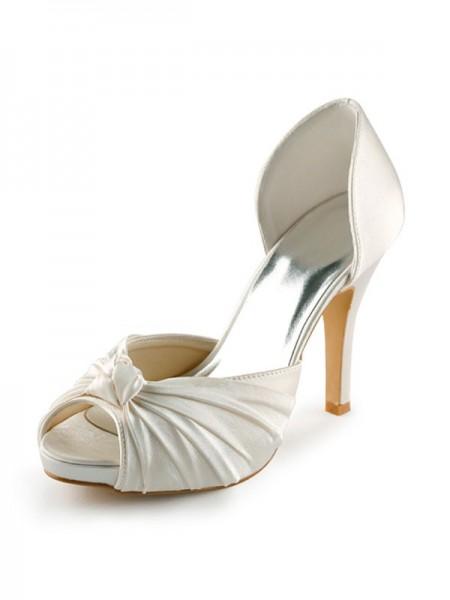 Donna Raso tacco a spillo Peep Toe Piattaforme Pumps White Scarpe da sposa Con Fiocco