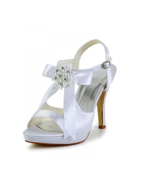 Donna Raso tacco a spillo Peep Toe Piattaforme Sandals bianca Scarpe da sposa Con Fiocco