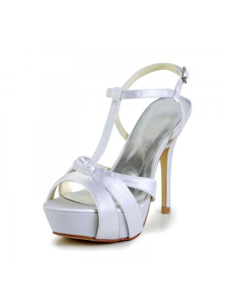 Donna Raso tacco a spillo Peep Toe Slingbacks Sandal bianca Scarpe da sposa Con Buckle