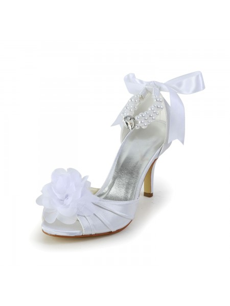 Donna Raso tacco a spillo Peep Toe Scarpe da ballo Con Imitation Pearl