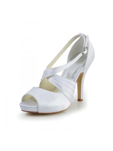Donna Raso tacco a spillo Peep Toe Con Buckle bianca Scarpe da sposa