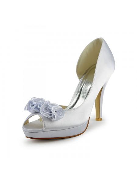 Donna Raso tacco a spillo Peep Toe Con Flower White Scarpe da sposa