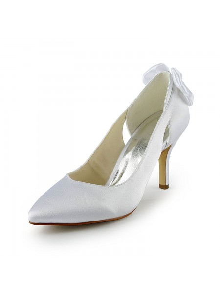 Donna Raso tacco a spillo Pumps Con Hollow-out White Scarpe da sposa