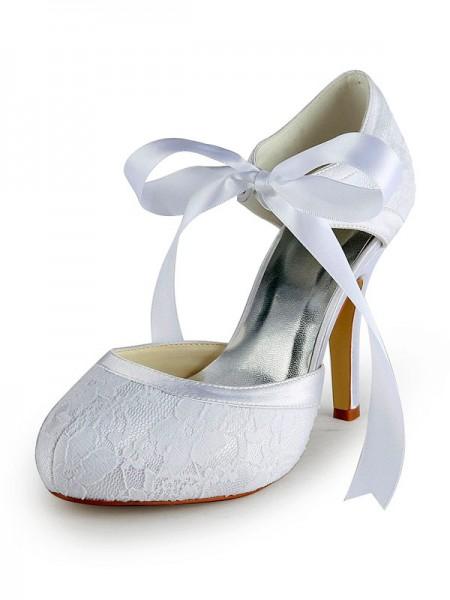 Donna Raso tacco a spillo Pumps Con Pizzo White Scarpe da sposa