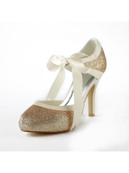 Donna Raso tacco a spillo Pumps Con Sparkling Glitter White Scarpe da sposa