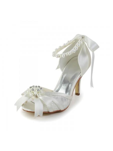 Donna Raso tacco a spillo Sandals Scarpe da ballo Pearl