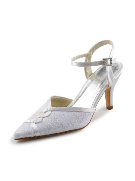 Donna Raso Stiletto Sandals Con Stitching Pizzo White Scarpe da sposa