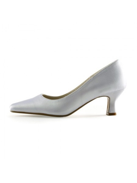Donna Raso Upper tacco grosso Pointed Toe White Scarpe da sposa