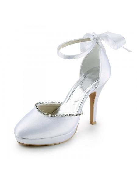 Donna Raso tacco a spillo punta chiusa Con Strasss White Scarpe da sposa