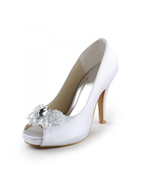 Donna Raso Upper tacco a spillo Peep Toe Pumps Con Strass White Scarpe da sposa