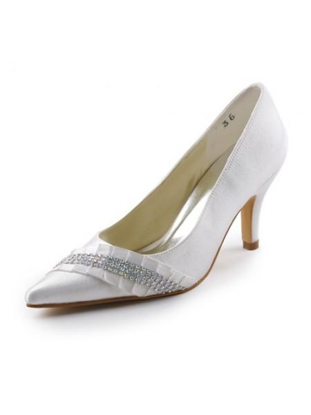 Donna Raso tacco a spillo Pointed toe Con Strass White Scarpe da sposa