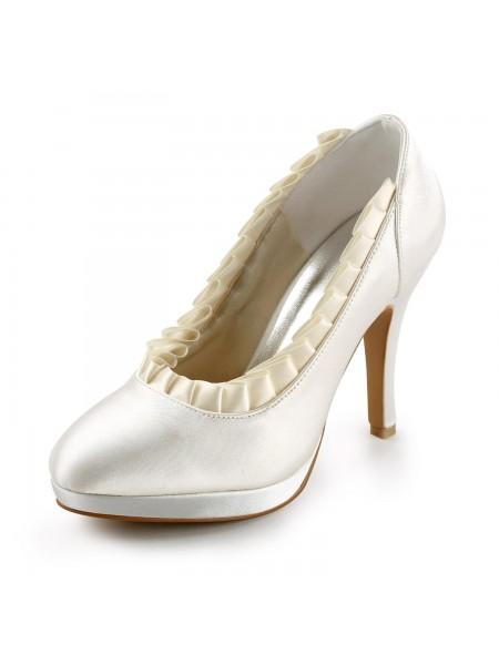Donna Raso Upper tacco a spillo Pumps Con Volant Ivory Scarpe da sposa