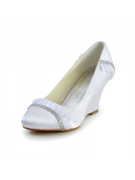 Donna Raso Zeppa Wedges punta chiusa bianca Scarpe da sposa