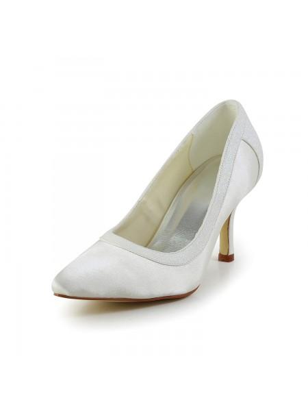 Donna Semplice Raso tacco a spillo punta chiusa bianca Scarpe da sposa