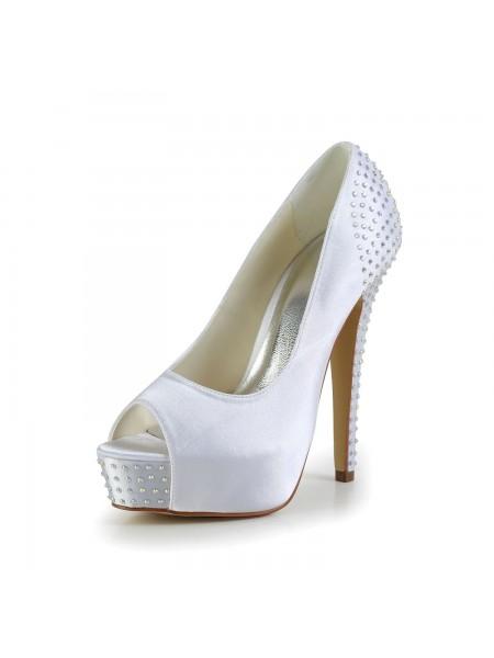 Donna Raso tacco a spillo Peep Toe Piattaforme White Scarpe da sposa Con Strass