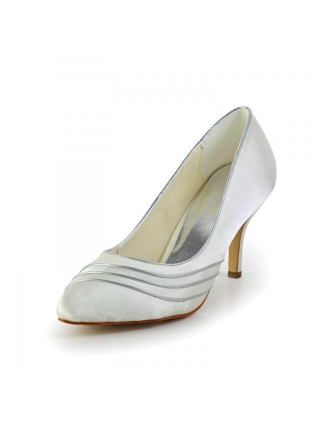 Donna Semplice Raso tacco a spillo Pumps bianca Scarpe da sposa