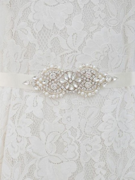 Elegant Satin Sashes With Rhinestones/Imitation Pearls
