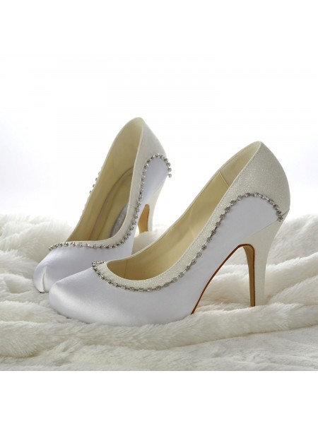 Donna tacco a spillos Closed-toe Perline White Scarpe da sposa