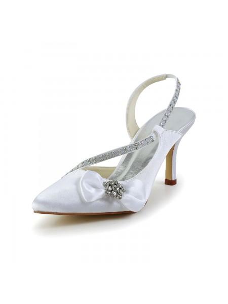 Donna Raso punta chiusa Spool Heel Con Strass Fiocco bianca Scarpe da sposa