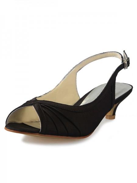 Donna Kitten Heel Raso Peep Toe Slingbacks Con Buckle Sandali Scarpe
