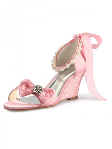 Donna Raso Zeppa Peep Toe Con Strass Pearl Fiocco Pink Scarpe da sposa