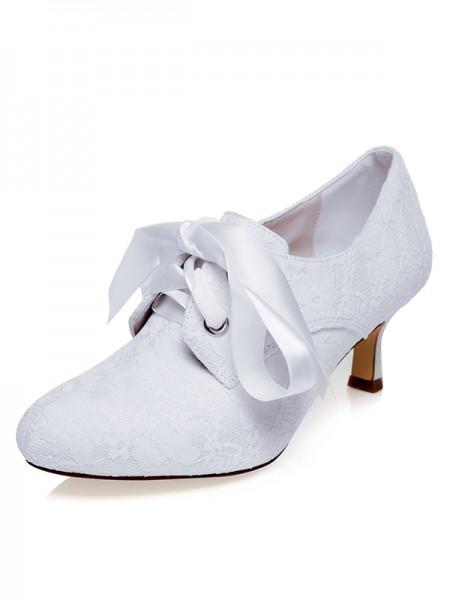 Donna Raso punta chiusa Silk Spool Heel Scarpe da sposa