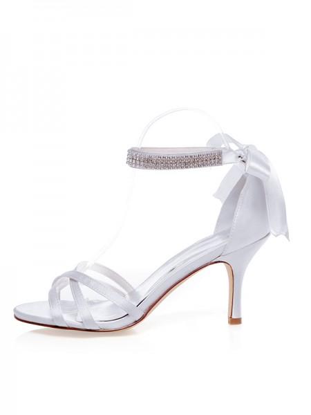 Donna Raso Peep Toe tacco a spillo Silk Scarpe da sposa