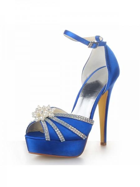 Donna Raso tacco a spillo Piattaforme Peep Toe Con Pearl Royal Blue Scarpe da sposa