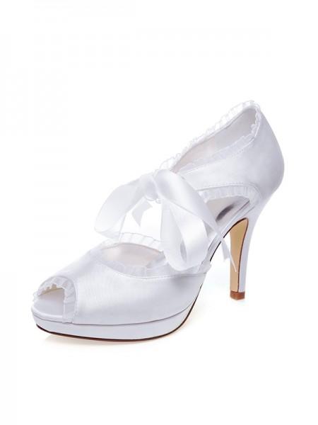 Donna Raso Peep Toe Silk tacco a spillo Scarpe da sposa