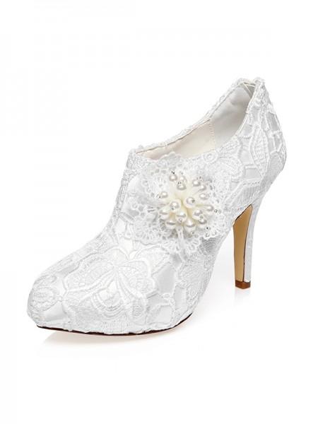 Donna Raso punta chiusa tacco a spillo Flower Scarpe da sposa
