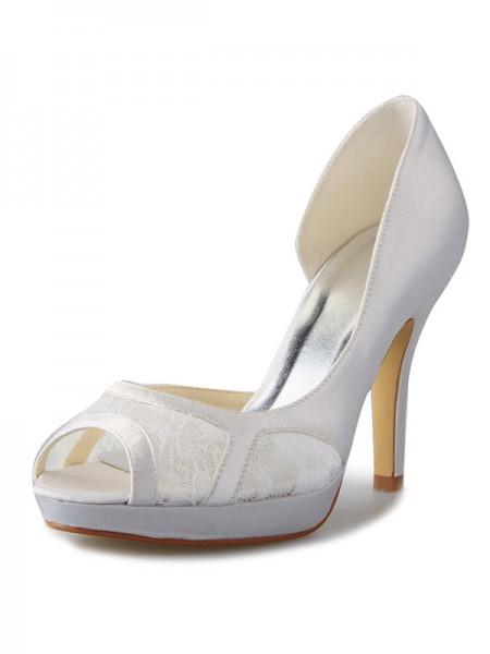 Donna tacco a spillo Raso Piattaforme Peep Toe Con Pizzo bianca Scarpe da sposa