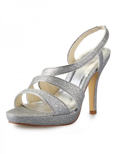 Donna tacco a cono Piattaforme Raso Peep Toe Con Sparkling Glitter Sandali Scarpe