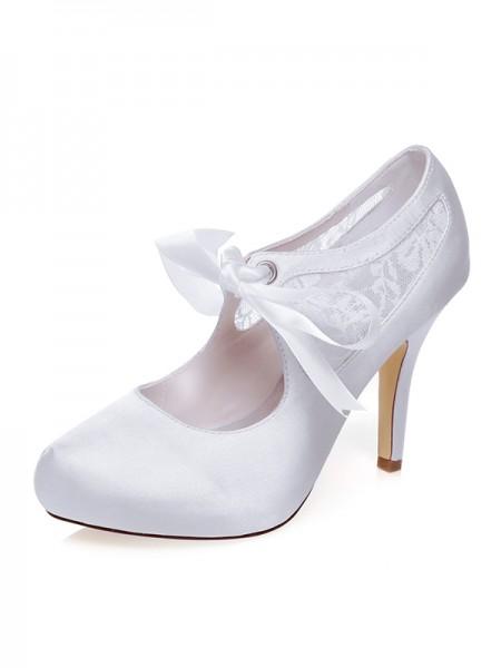 Donna Raso punta chiusa Silk tacco a spillo Scarpe da sposa