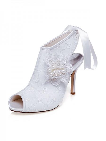 Donna Raso Peep Toe Flower tacco a spillo Scarpe da sposa